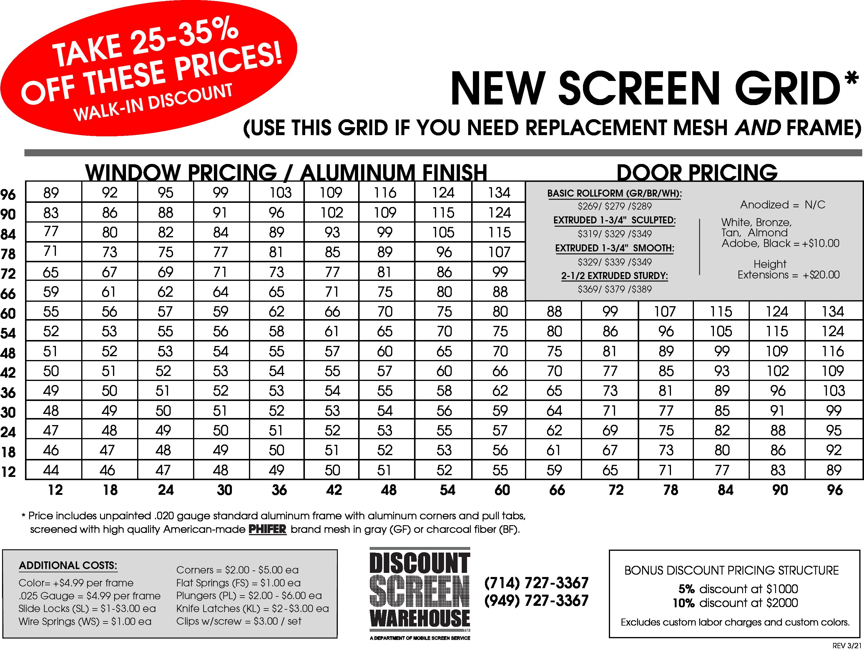 DSW Price Sheet NEW 4-21