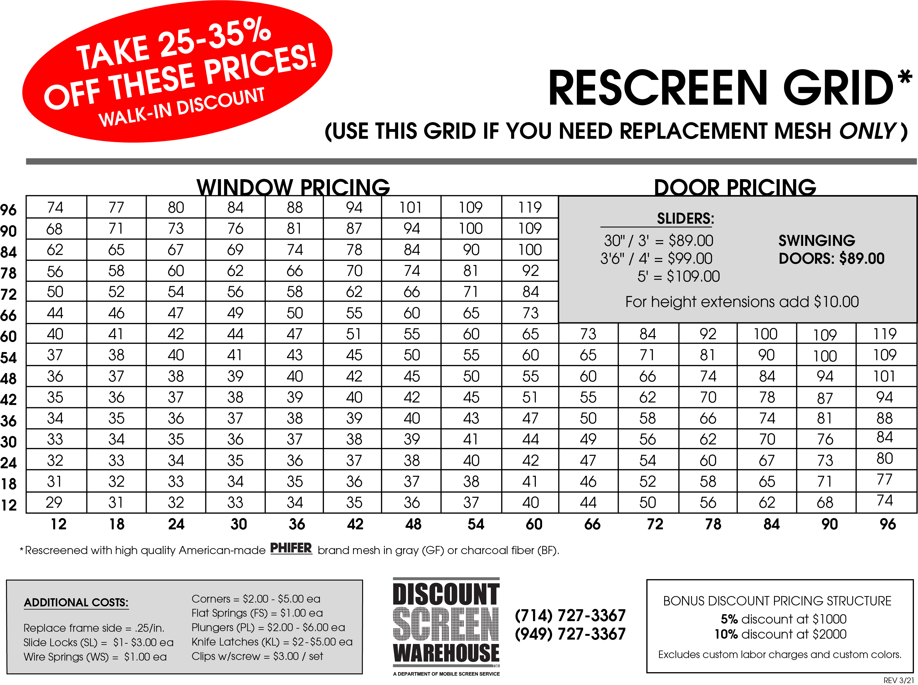 DSW Price Sheet-RE 4-21
